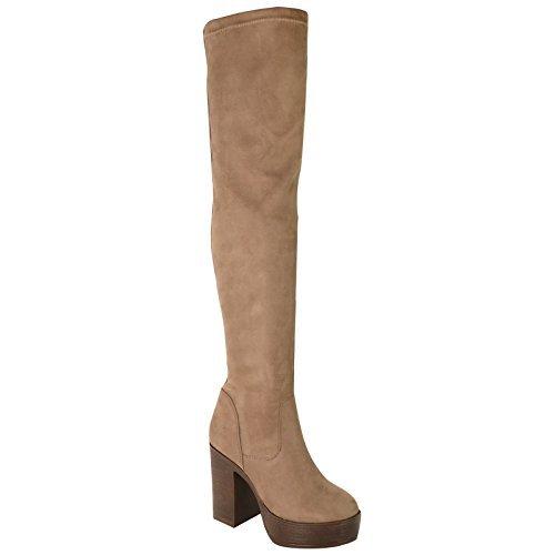 Damen hoch Blockabsatz Plateau Stretch Overknee Oberschenkel Hoch Stiefel Schuhe Größe - mokka braun Kunstwildleder, 6 (Schuhe Hohe Oberschenkel)