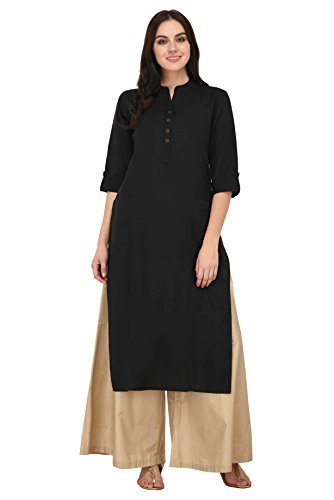 Pistaa women's Solid Cotton Kurta with two patch pockets & Plus Size...