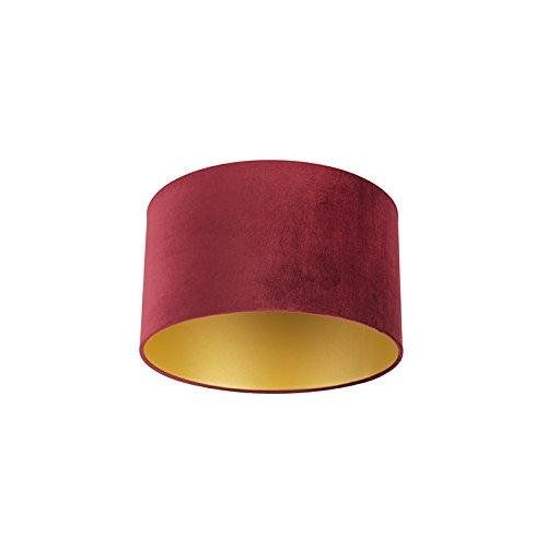 QAZQA Baumwolle Lampenschirm velours 35/35/20 rot - Gold/Messing, Rund gerade Schirm Pendelleuchte,...