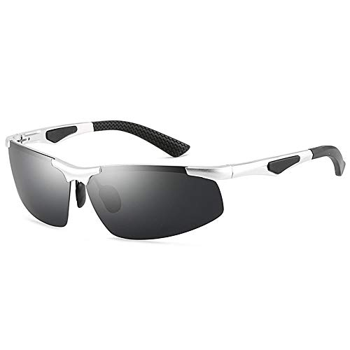 LCLZ Hohe Qualität Herren-Blackout-Sonnenbrille Ohne Grenzen Ultraleichte, Bequeme Outdoor-Sportarten Fahren Reiten Sonnenbrille Strand Meer UV400-Schutz (Farbe : Silver)