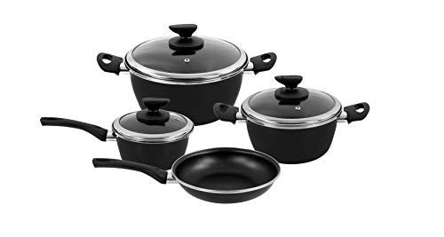 Magefesa - Batería de cocina FIT, acero esmaltado, color negro, con antiadherente bicapa reforzado...