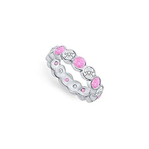 Pink Sapphire and Diamond Eternity Band Platinum 2.00 CT TGW