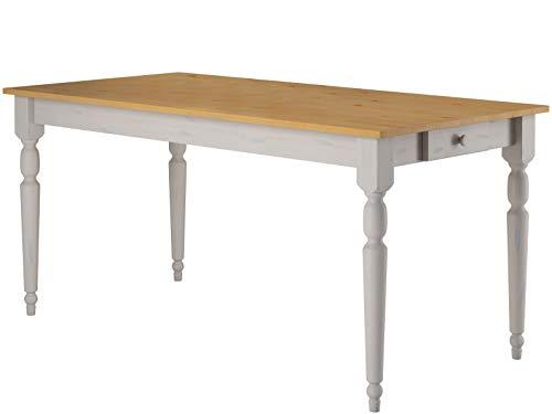 Loft24 Lyla Esstisch Kiefer massiv Esszimmertisch mit Schublade Küchentisch 160x75 cm Landhaus weiß lasiert, gedrechselte Tischbeine