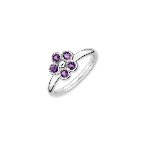 Black Bow Jewellery Company : Sterling Silver & Amethyst Stackable 5 Stone Flower Ring