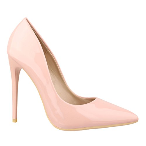 Elara Spitze Damen Pumps | Bequeme Lack Stilettos | Elegante High Heels B-1 Pink-37 Pink Stiletto High Heel