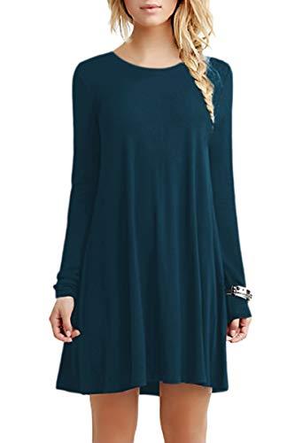 YMING Damen Langes Shirt Basic Longshirt Casual Langarm Tunikakleid Shirtkleid,Dunkelblau,S