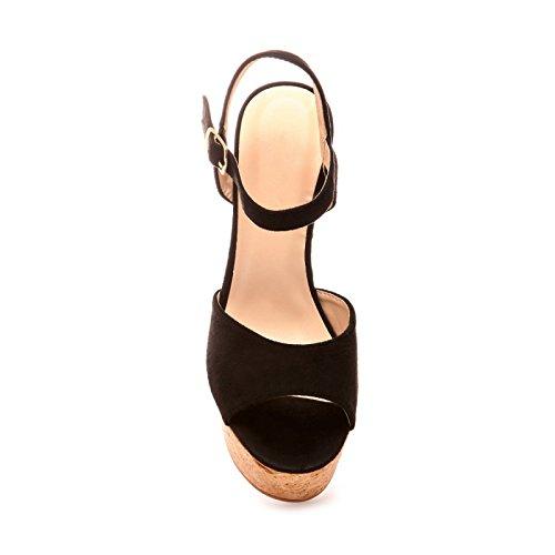 La Modeuse - Sandales à plateforme effet liège Noir