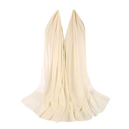 Xmiral Damen Plain Bubble Elegant Chiffon Schal Schals Stirnband Muslim Hijab Abendkleid Braut Hochzeit(M)