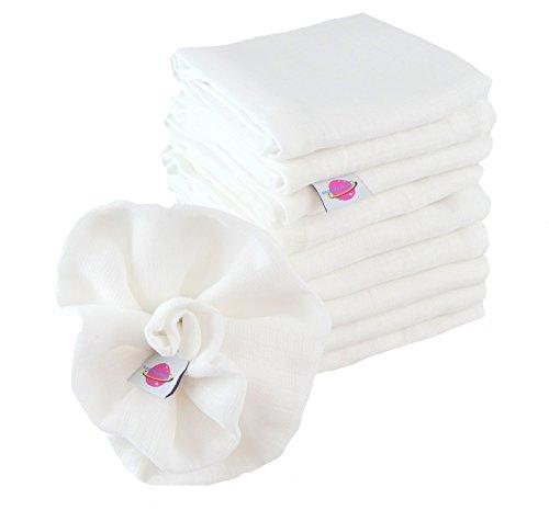 Babymajawelt 9975 Mullwindeln, kochfest, Spucktücher, 10er Pack,  60 x 80 cm, weiß