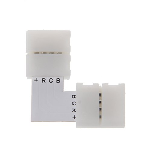 XXguang 4 Pin LED Connector L Shape Corner Quick Splitter Right Angle 10mm 5050 RGB LED Strip Light Powered Splitter