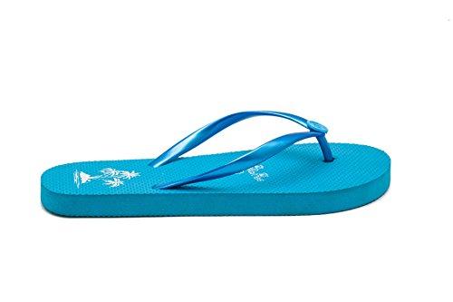 Tongs Femme Chaussures de Plage avec Motif de Palmier Airee Fairee Bleu