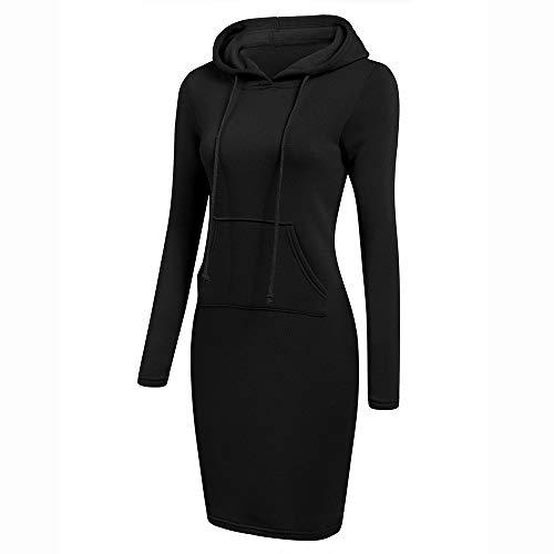 Kleider für Damen Pullover mit Kapuze Sweatshirt Kleid Elegant T-Shirt Kleid Langarmkleid...