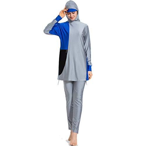 KUKICAT Frauen moslemischer Badeanzug mit Kappen-Druck-Badeanzug Beachwear