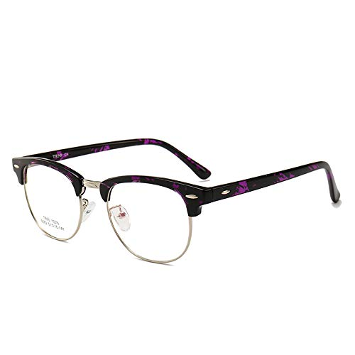 Männer Frauen Mode Retro Frame Plain Glass Spectacles C4 lila Fleck