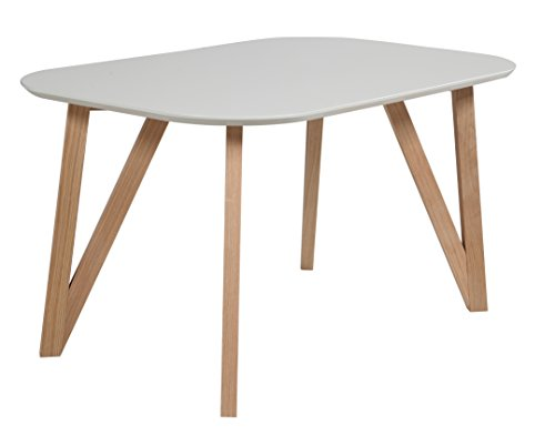 SalesFever® Esszimmertisch Aino, Küchentisch in grau, 140 x 90 cm, furnierter Esstisch, pflegeleichter & Abgerundeter Holz-Tisch, FSC® Zertifiziert