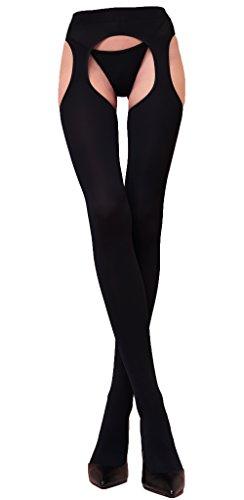WOOTI 100 Den-Microfaser-Strip-Panty mit komfortablem MESSICANA Schwarz, Größe S/M, Strumpf sexy, warm, weich, komfortabel, beständig, in mikrofaser, -