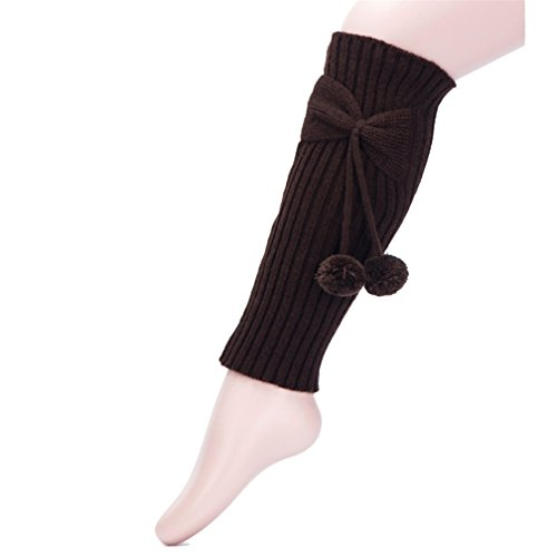 Vovotrade ❤❤ Neueste Girls Socken Knie Straight Tube Bowknot Puffer Ball Strümpfe Set (Kaffe) (Tube Strümpfe)