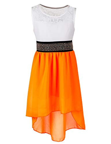 ches Mädchen Sommer Kleid mit Glitzergürtel Hochzeit Kommunion Freizeit M555or Orange 12/140 / 146 ()
