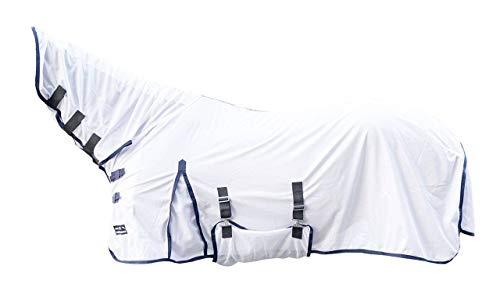 HKM 7076 Fliegendecke Lyon mit festem Halsteil, Fliegenschutzdecke Pferdedecke, Weiß, 145 cm