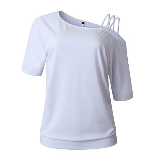 UMIPUBO T-Shirt Donna Tinta Unita Tee Spalle Scoperte Camicetta Donna Casual Maglietta Maniche Corta Top Camicia Estate
