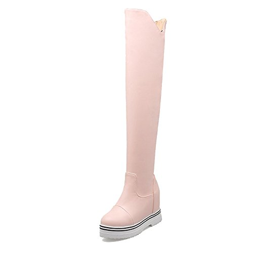 AgooLar Damen Weiches Material Hoher Absatz Ziehen auf Rund Zehe Stiefel, Pink, 39