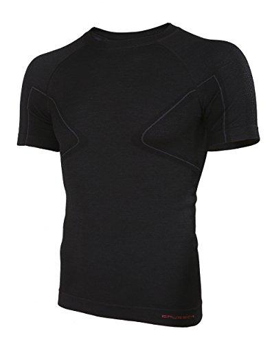 Brubeck Merino Herren Kurzarm Funktionsshirt | Atmungsaktiv | Thermo | Sport | Fitness | Unterhemd | Unterwäsche | 41% Merino-Wolle | SS11710 XL Schwarz -