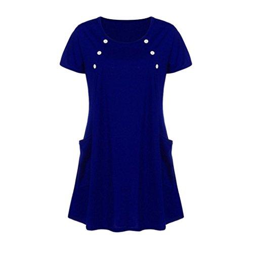 Mini-Robe, Malloom Femme en Vrac Grande Poche Décontractée à Manches Courtes et Col Rond Bleu