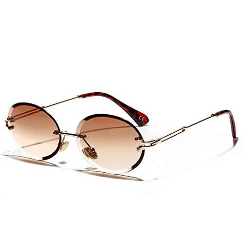 MJDABAOFA Sonnenbrillen,Fashion Design Frauen Oval Randlose Sonnenbrille Gold Frame Braunen Gläsern Klassische Marke Weiblichen Sonnenbrille Uv 400 Sonnenbrille Brillen Schattierungen