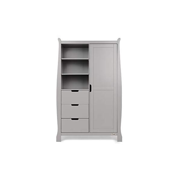 Obaby Stamford Sleigh Double Wardrobe, Warm Grey Obaby A single door enclosed cupboard space Three half width drawers on metal runners Three half, position adjustable shelves 1