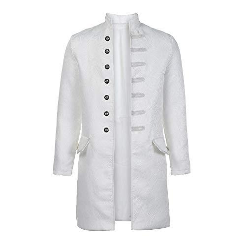 SuperSU Herren Print Mantel Frack Jacke Gothic Gehrock Uniform Kostüm Party Oberbekleidung Herren Vintage Steampunk Jacke Gothic Victorian Drucken Langer Mantel Coat Cosplay Uniform Kostüm -