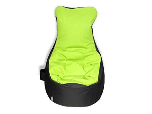 kissenwelt.de Sitzsack BEZUG, OHNE FÜLLUNG, Sessel mit Lehne, Grün/Grau, H90xB70xSitzH65 cm, Outdoor Polyester