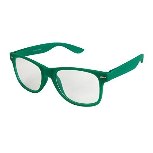 haute qualité Nerd Lunettes de soirée Carnaval Soleil avec Verre transparent mat Gomme Rétro Vintage Unisexe Charnière à ressort - 17 plusieurs couleurs/Modèles au choix vert foncé