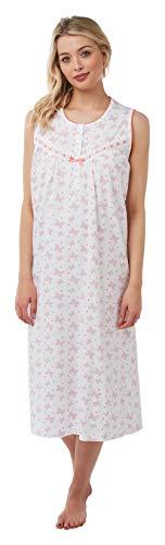 Suzy & Me Damen Nachthemd, ärmellos, 100% Baumwolle, Jersey, Schmetterlingsmotiv Rosa, Aqua, Koralle oder Flieder. Größen: 36-38, 40-42, 44-46, 48-50, 24-26 Gr. 52-54, Korallenrot (ärmel Damen Nachthemden, Lange)