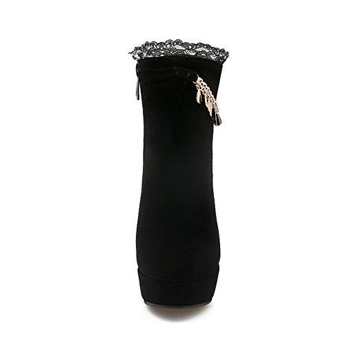 VogueZone009 Donna Bassa Altezza Cerniera Tacco Alto Punta Tonda Stivali con Talismano Nero