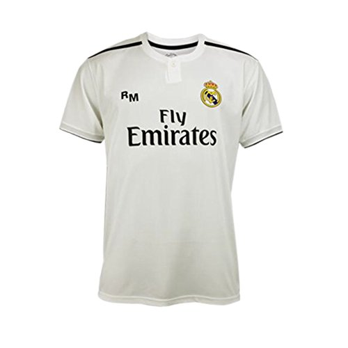 Camiseta 1ª Equipación Real Madrid 2018-2019 – Replica Oficial Licenciada – Dorsal 7 Ronaldo – Adulto Talla S – Medidas Pecho 51,5 – Largo Total 71,5 – Largo Manga 19,5 cm.