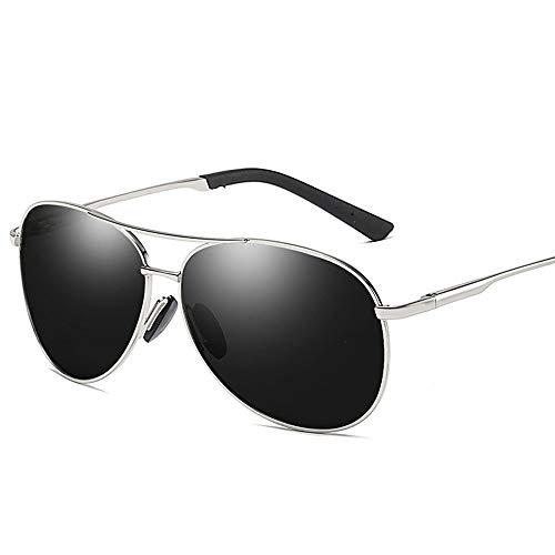 Vintage Trend Aviator Sonnenbrille, Polarisierte Linse mit Etui, 100% UV Schutz Brille (Farbe : Silver)
