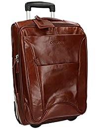 Valigia trolley semirigido marrone ORNA 916 bagaglio a mano ryanair pelle VS236