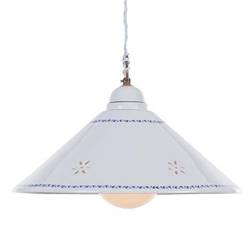 Nostalgie Luminaire suspendu - Lampe céramique - Blanc avec le fil bleu gemustertem Bord - Point Ajouré En Filigrane - D=40 cm