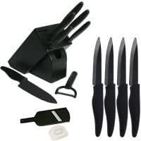 coffret couteau ceramique noir de luxe 6 couteaux de cuisine 4 couteaux a steak 1 mandoline 1