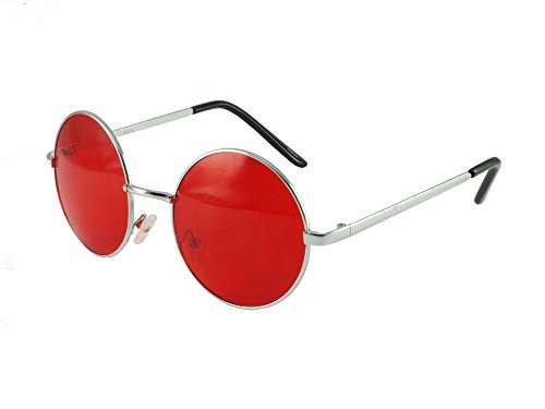 Revive Übergroße Sonnenbrille im Lennon-Stil, 2012 _RED, Rot, 2012 _RED
