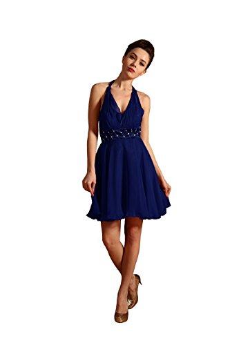 Bridal_Mall Damen Rueckenfrei Cocktailkleid Kurz mit Strasssteinen Prom Ballkleid Abendkleid Koenigsblau