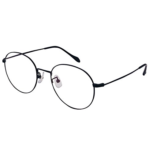 XYAS Oval Unsix Metall Lesebrille klare linse Wechselgläser klassische Brille(5905,Schwarz)