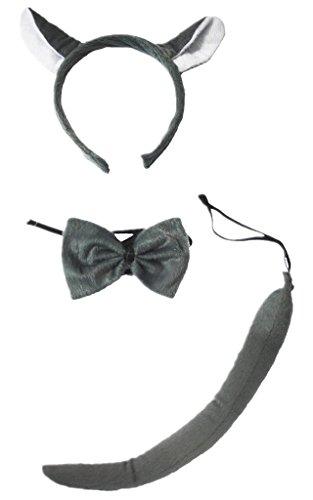 Petitebelle Stirnband Bowtie Schwanz 3pc Costume Einheitsgröße Grauer Wolf