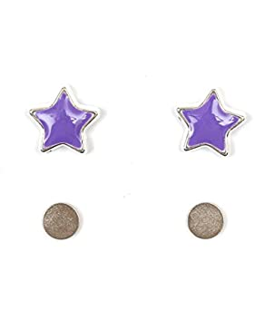 Idin Magnetische Ohrringe - Violette emaillierte Sterne (ca. 9 mm)