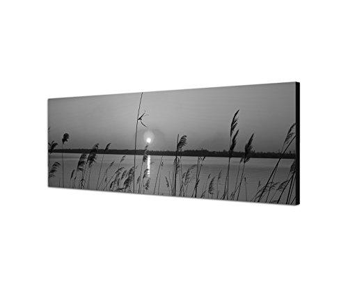 Und Weiß-wand-kunst-himmel Schwarz (Keilrahmenbild Panoramabild SCHWARZ / WEISS 150x50cm Fluss Gräser Sonnenuntergang Himmel)