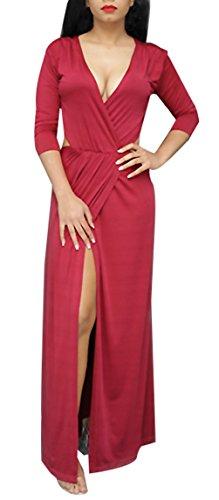 Blansdi Damen Elegant Kleider V-Ausschnitt Langarm Hoch Taille Strech Abendkleid Ballkleid mit Cut-outs Reizvolles Cocktailkleid Partykleid Rot