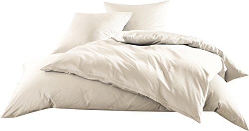 Mako-Satin Baumwollsatin Bettwäsche Uni einfarbig zum Kombinieren (Bettbezug 200 cm x 220 cm, Natur)
