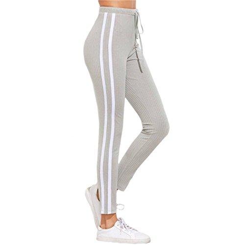 MIOIM Damen Sporthose Freizeit Fitness Gym Leggings Fitness Sport Hose Sporthose Hose Lang 2 Streifen Jogginghose Fitnesshose Trainingshose Grau S