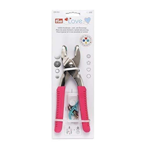 Prym Love Vario-Zange + Loch/Color Werkzeug Kinderleichtes Befestigen von Druckknöpfe, Ösen, Jeans-Knöpfe und Nieten (Rosa)