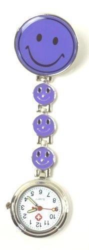 Ansteckuhren Smiley Klippuhren bunte Auswahl an Sister Uhren Pulsuhren Schwesternuhren für Pflegekräfte (4-Smileys lila)